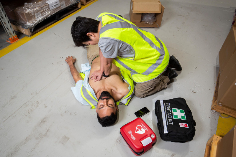 an AED in use
